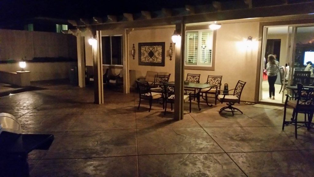 Night time shot of this awesome concrete patio install