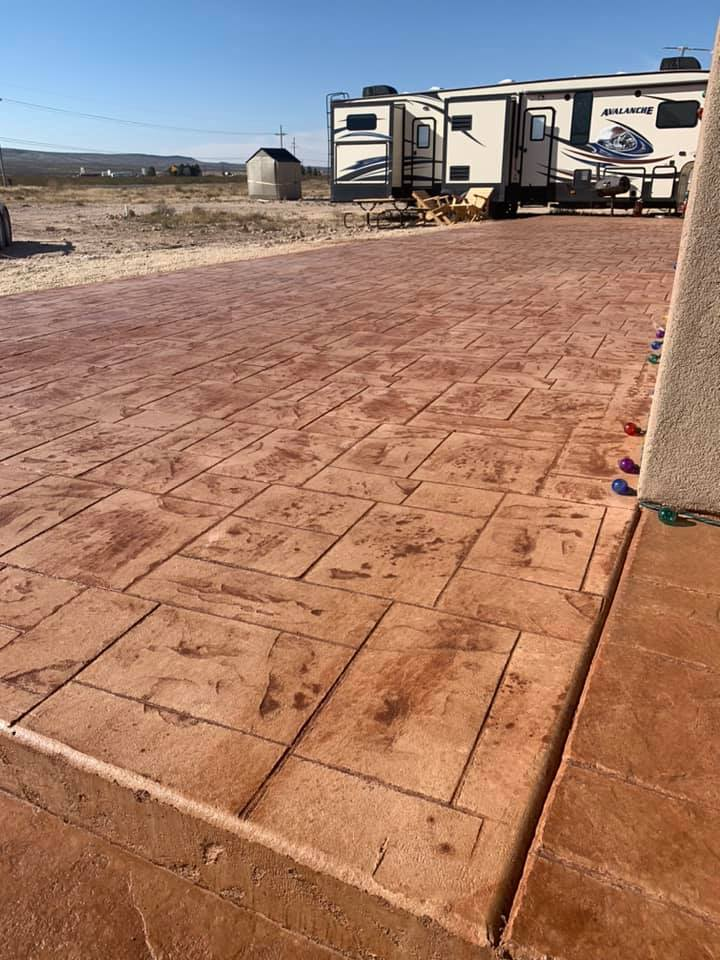 stamped concrete install with rectangle shaped stamps